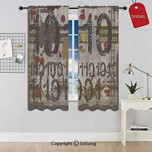 Binary Grunge Background with Acid Etched Numbers Murky Chaotic Graphic Decorative Rod Pocket Sheer Voile Window Curtain Panels for Kids Room,Kitchen,Living Room & Bedroom,2 Panels,Each 42x45 ()