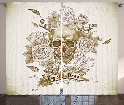 Ambesonne Skulls Decorations Collection, Skull with Roses Day of The Dead Sign Horror Mexican Traditional Art , Living Room Bedroom Curtain 2 Panels Set, 108 X 84 Inches, Vanilla White Ivory