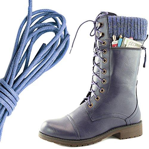 Dailyshoes Womens Combat Stijl Lace Up Enkellaarsje Ronde Neus Militaire Knit Creditcard Mes Geld Portemonnee Pocket Laarzen, Koningsblauw Paars Pu