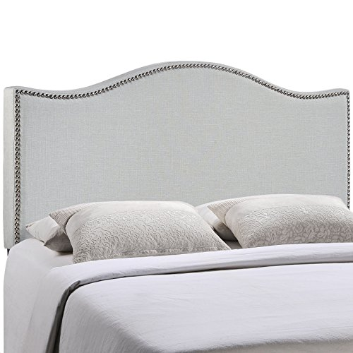 Modway Curl Upholstered Linen Headboard Full Size With Nailhead Trim and Curved Shape In Sky Gray - Home Panel Bed