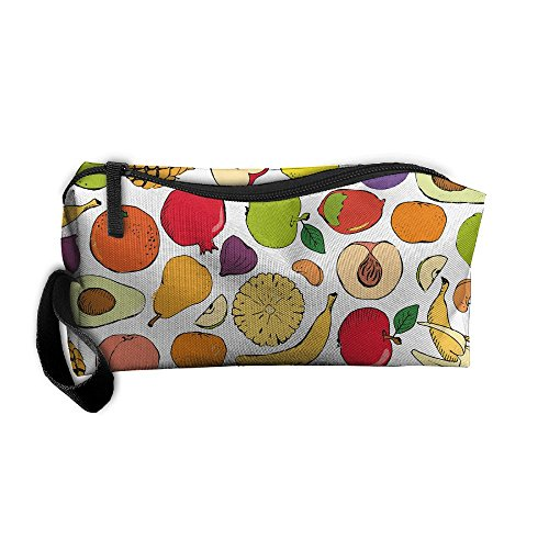 Colored Doodle Fruits Storage Cosmetic Bag Portable Travel Makeup Bag Packing Pouches