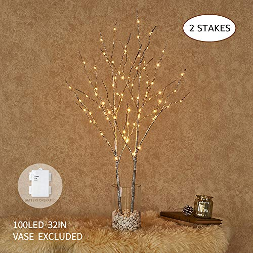 Hairui Lighted Silver Artificial Twig Branch with Fairy Lights 32in 100 LED Battery Operated Lighted Willow Branch for Christmas Home Decoration Indoor Outdoor Use 2 Pack (Vase Excluded) (Lighted Silver Branches)