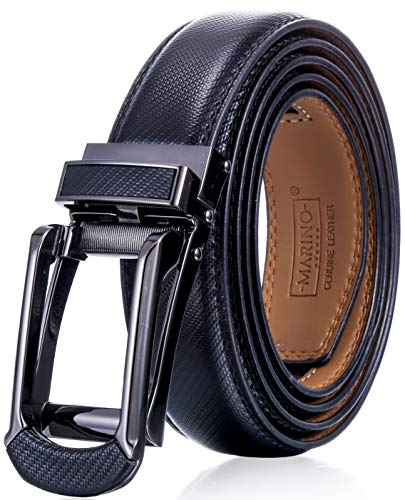 (Marino Men's Genuine Leather Ratchet Dress Belt with Open Linxx Buckle, Enclosed in an Elegant Gift Box - Black - Style 156 - Custom XL: Up to 54