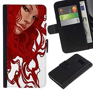 Billetera de Cuero Caso Titular de la tarjeta Carcasa Funda para Samsung Galaxy S6 SM-G920 / Ginger Girl White Art Painting / STRONG