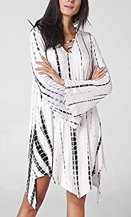 Frauen Minikleid Blusenkleider Blusenkleid 2017 Die Neue kurz V-Ausschnitt  Langarm Irregular dünn uv schutz Loose pastell Lightweight Elegant:  Amazon.de: ...
