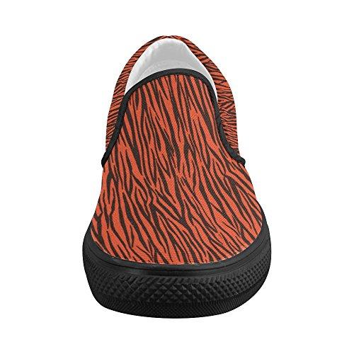 D-story Custom Orange Zebra Stripes Womens Slip On Canvas Shoes (modello 019)