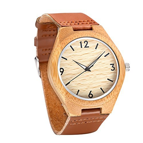 Tamlee Casual Wooden Watches for Men with Genuine Leather Lumination Hands