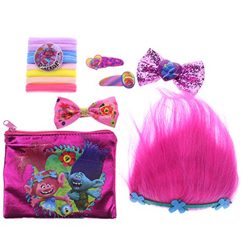 Townley Girl Dreamworks Trolls Hair Accessory Set for Girls; Tiara, Hair Bows, Hair Ties, Bobby Pins and (Troll Costume For Toddler)