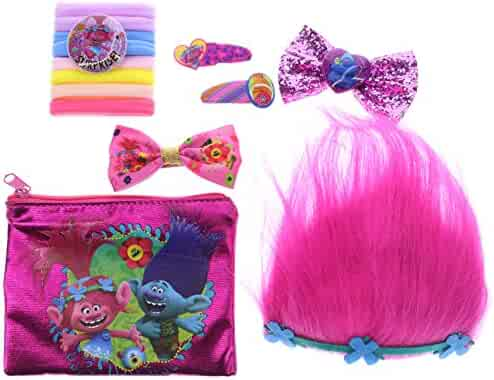 Townley Girl Dreamworks Trolls Hair Accessory Set for Girls; Tiara, Hair Bows, Hair Ties, Bobby Pins and Bag