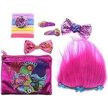 [Patrocinado] Juego de accesorios para las niñas; tiara de pelo, lazos de pelo, gomas para el pelo, horquillas y bolsa Townley Girl Dreamworks Trolls