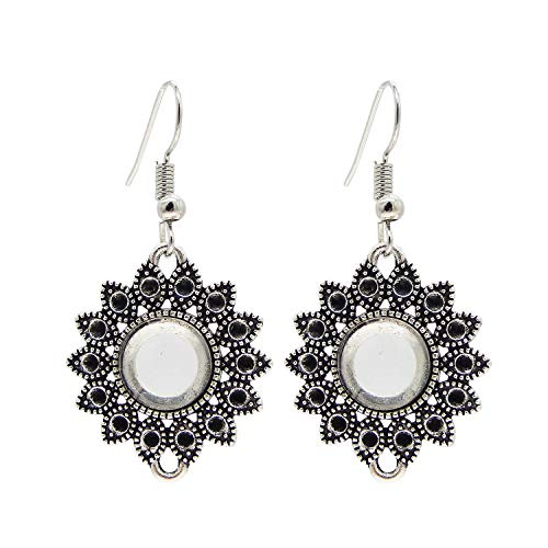 Julie Wang 10 Pairs Earring Bezels Wire Hooks Setting Base Blank Tray Antiqued Silver with 10mm Matching Clear Glass Cabochons ()