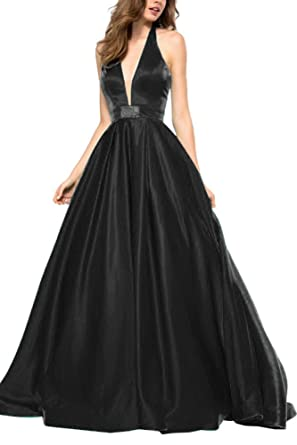 Zhongde Womens Sexy Long Prom Dress Halter V Neck Satin Evening Gown With Pocket Black Size
