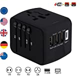 Brightsharp Universal Travel Plug Adapter with 3 USB 2.4A Ports, 1 Type C Port and 1 Universal AC Socket, Worldwide Wall Charger Power Socket Adapter for Europe, UK, US, AU, Asia-Black (Black)