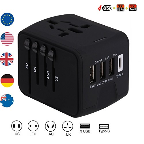 Brightsharp Universal Travel Plug Adapter with 3 USB 2.4A Ports, 1 Type C Port and 1 Universal AC Socket, Worldwide Wall Charger Power Socket Adapter for Europe, UK, US, AU, Asia-Black (Black) by Brightsharp
