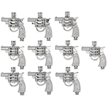 10pcs Charms Silver Tone Gun Shaped Pearl Cage Pendant Small Locket Add Yours Own Beads, Stones, Prefume Jewelry