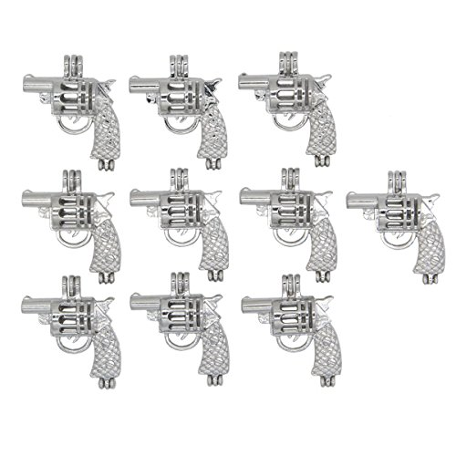 - 10pcs Charms Silver Tone Gun Shaped Pearl Cage Pendant Small Locket Add Yours Own Beads, Stones, Prefume Jewelry