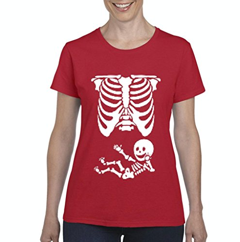 (Xekia Pregnant Skeleton with Baby Halloween Fashion Party People BFF Couples Gifts Women's T-shirt Tee Clothes Small)