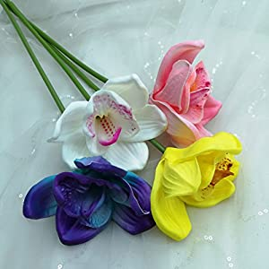 Lily Garden Artificial Flowers Real Touch Orchid Set of 10 (Purple) 3