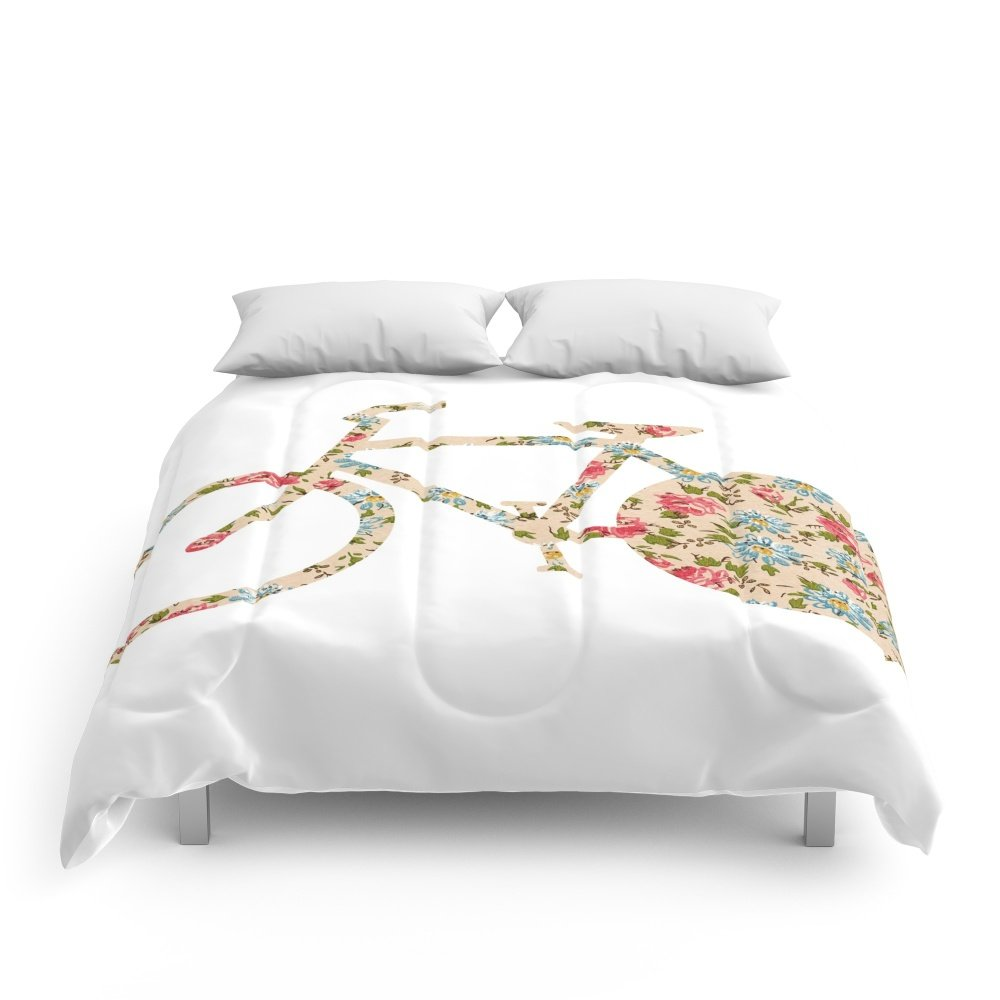 Society6 Whimsical Cute Girly Floral Retro Bicycle Comforters Queen: 88'' x 88''
