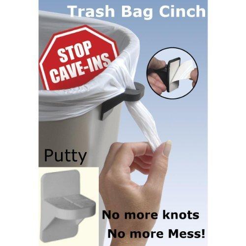 Trash Bag Cinch - Stops Trash Bag Cave-ins! (Putty (Grey), 6) Cinch Drawstring