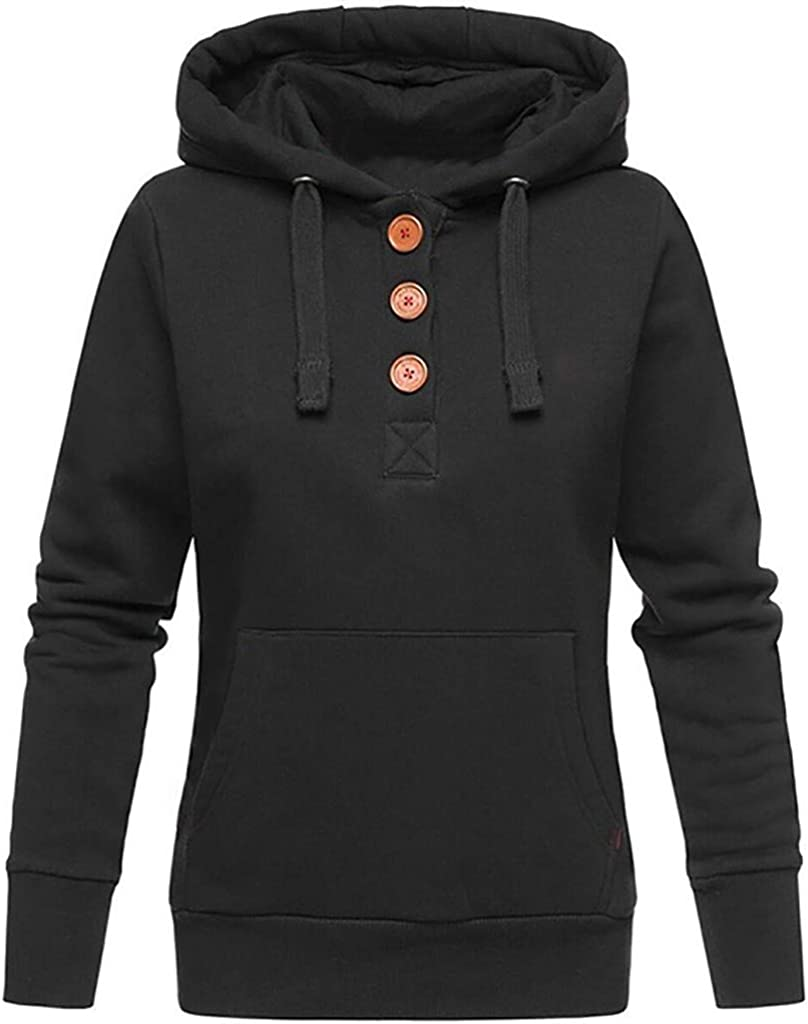 Ulanda Womens Casual Long Sleeve Solid Drawstring Pullover Hoodie Sweatshirt Winter Warm Hoodies Plus Size