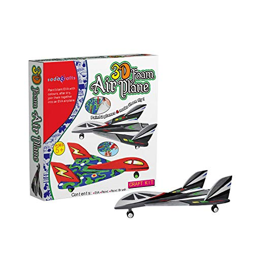 (SadoCrafts 3D Foam Airplane Kit - Fun, Interactive, Educational, DIY Model Kit for Kids 5+)