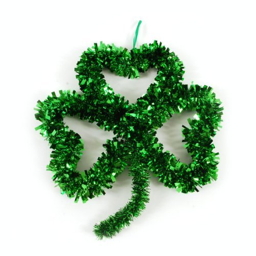 Ornament Wreath Wall Hanging (St. Patrick's Day Tinsel Shamrock Wall Decoration by Greenbrier)