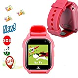 Kids Smartwatch with SOS Emergency Call hangang M06 GPS Tracker for Children's Safe and Remove Parent's Anxious (Pink)