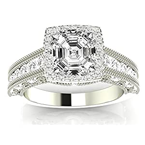 1.25 Ctw 14K White Gold GIA Certified Asscher Cut Vintage Halo Style Channel Set Round Brilliant Diamond Engagement Ring Milgrain, 0.5 Ct G H VS1 VS2 Center