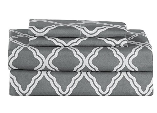 All American Collection New Microfiber 4 Piece Sheet Set Geometric Cone Design Printing (King, Grey)