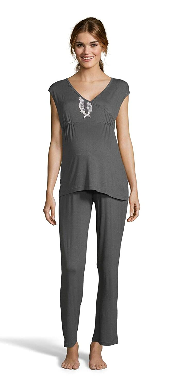 Graphite Lamaze Womens Maternity Short Sleeve Shirt and Elastic Waist Pants Pajama Set