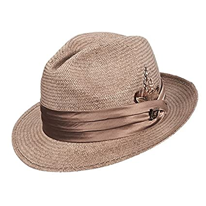 Stacy Adams Vent Poly Braid Fedora Hat Grey Mens Size M