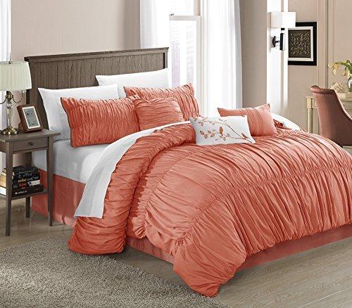 Chic Home Francesca 7-Piece Comforter Set, King, Peach