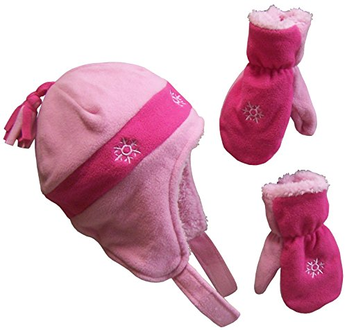 N'Ice Caps Little Girls and Baby 4 Corner Sherpa Lined Fleece Snow Hat Mitten Set (Pink/Fuchsia Snowflake Embroidery, 2-3 Years)