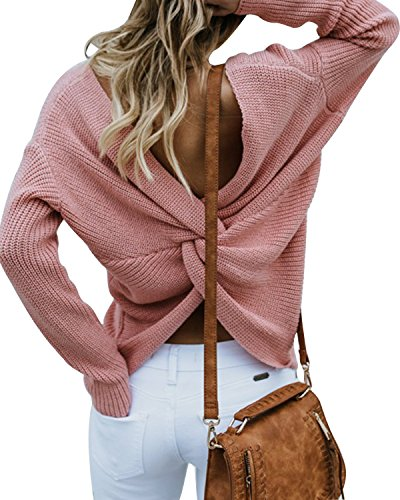 (LANISEN Women Sexy Deep V Neck Wrap Front Backless Knit Sweater Pullover Pink L)