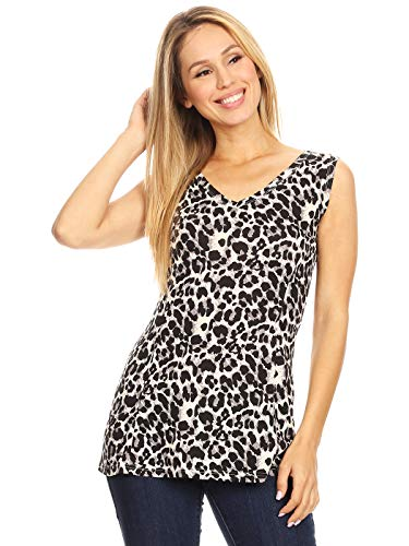 Anna-Kaci Women's Sexy V Neck Sleeveless Wild Animal Spotted Leopard Cheetah Printed Tunic Tank Top, Silver, Large (Cheetah Print Hoodie)