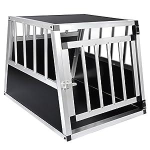 EUGAD Transportín de Aluminio para Perros Gatos Mascotas Jaula Transporte de Viaje para Mascotas Trapezoidal 1 Puerta Negro 0054HT