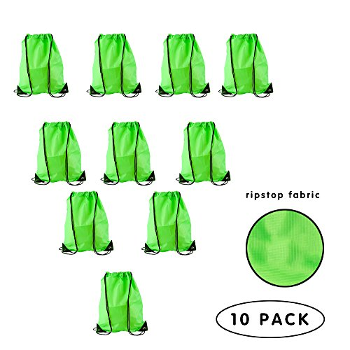 Daypack Nylon Ripstop (LIHI Bag 10 Pack Party Favors Ripstop Nylon Blank Bulk Drawstring Backpack,Yoga Gym Sack Pack, Sports Cinch Sling Bag For Kids,Students,School donation, Giveaways, Fluorescent Green)