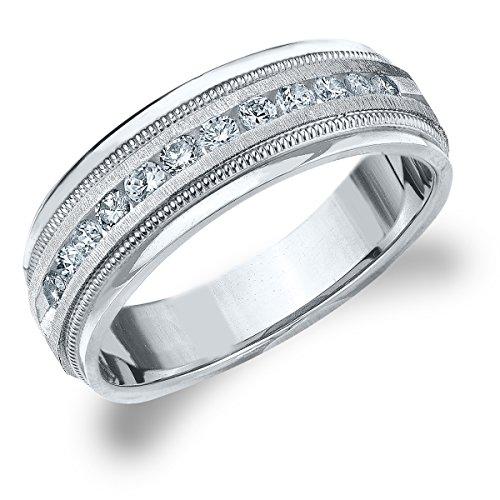 14K White Gold Diamond Men's Satin Finish Milgrain Band (.50 cttw, G-H Color, SI1-SI2 Clarity) Size 9.5