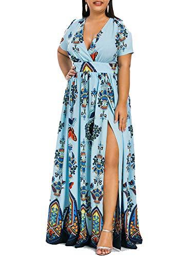 Printed Maxi Split Dress Short Sleeves Bohemian Beach Maxi Dress Bodycon Long Party Dress,Light Blue,XXL -