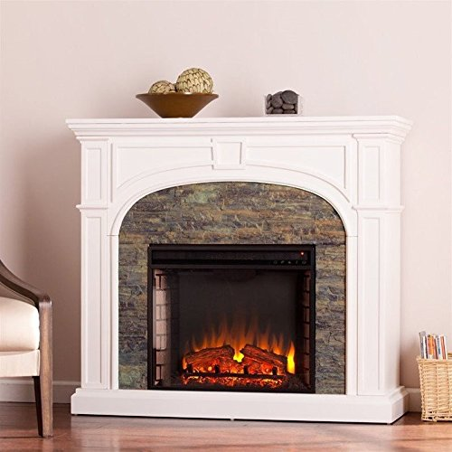 Southern Enterprises Tanaya Stacked Stone Fireplace White
