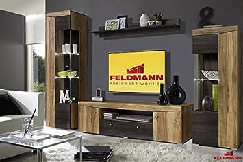 Schon Wohnwand 665381 Anbauwand 4 Teilig Satin Nussbaum / Touchwood Wenge