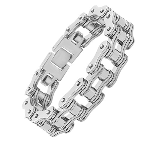 Stainless Steel Bike Chain Bracelet (Mens 316 Stainless Steel Bracelet Bicycle Motorcycle Chain Bike Wristband(Style4))