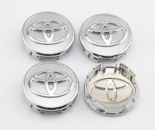 Angel Mall Toyota 57mm Outer Diameter Frosted Surface Silver Wheel Center Hub Caps Cover 4-pc Set (Center Frosted)