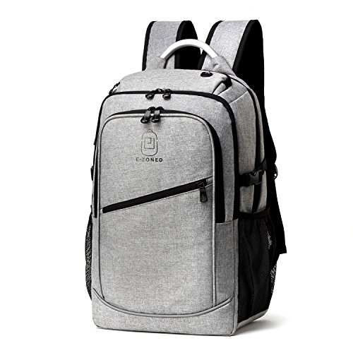 E-ZONED Business Laptop Backpack for Men Travel Daypack Multipurpose Backpack Water Resistant Backpack Large Capacity School College Bags with USB Charging Port Headphone Port Fits up 17 inch Laptop