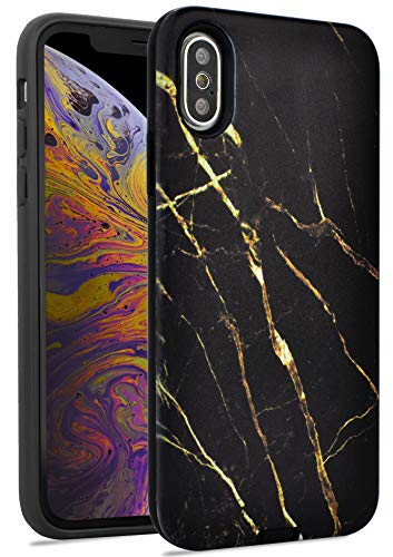 - LuvCase Phone Case for iPhone Xs/iPhone X, [Hybrid Dual Layers] Ultra-Slim Matte TPU Soft Gel Rubber Silicone Full Body Protection Shockproof Rugged Bumper IMD Case (Black Gold Marble)