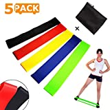 Cheap THEONES Exercise Bands Resistance Loop, Set of 5 Fitness Bands Instruction Manual, Carry Bag, Workout Stretch Bands Legs Butt, Physical Therapy, Yoga Home Fitness