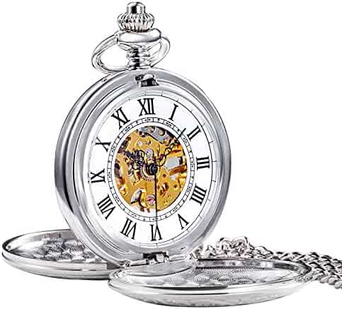 TREEWETO Men's Retro Half Hunter Mechanical Pocket Watch Silver Case Roman Numerals with Box