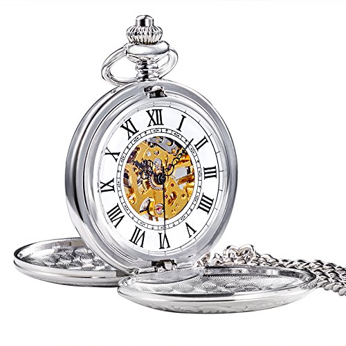 (TREEWETO Men's Retro Half Hunter Mechanical Pocket Watch Silver Case Roman Numerals with Box)