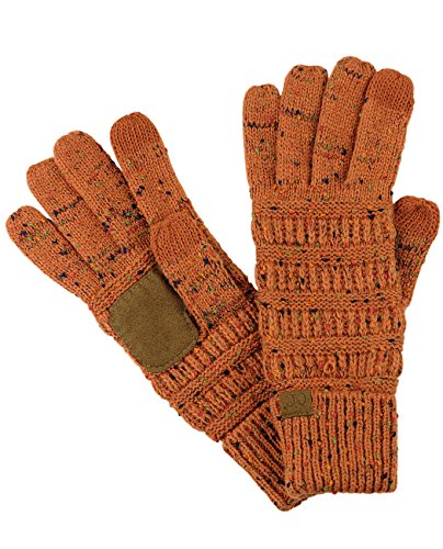 C.C Unisex Cable Knit Winter Warm Anti-Slip Touchscreen Texting Gloves, Confetti Rust -